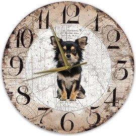 Creatief Art Houten Klok - Chihuahua Zwart