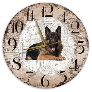 Creatief Art Houten Klok - 30cm - Hond - Oudduitse Herder