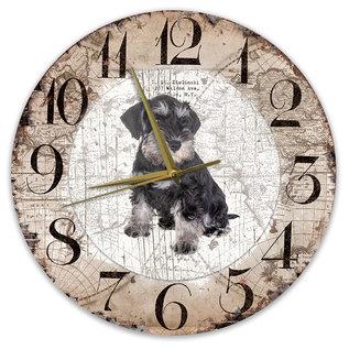 Creatief Art Houten Klok - 30cm - Hond - Dwergschnauzer