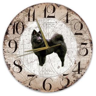 Creatief Art Houten Klok - 30cm - Hond - Keeshond