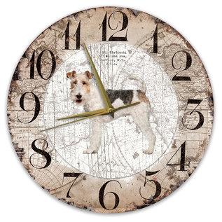 Creatief Art Houten Klok - 30cm - Hond - Draadhaar Fox Terriër