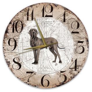 Creatief Art Houten Klok - 30cm - Hond - Deense Dog