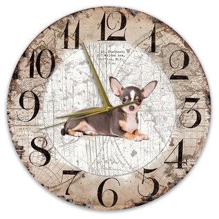 Creatief Art Houten Klok - 30cm - Hond - Chihuahua