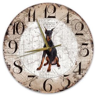 Creatief Art Houten Klok - 30cm - Hond - Dobberman