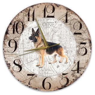 Creatief Art Houten Klok - 30cm - Hond - Duitse Herder Langharig