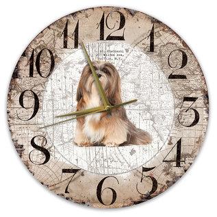 Creatief Art Houten Klok - 30cm - Hond - Lhasa Apso