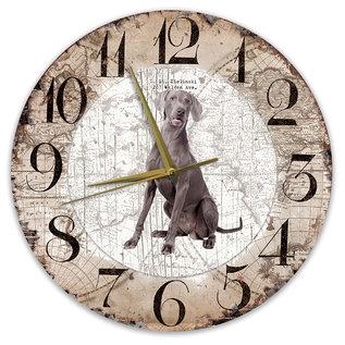 Creatief Art Houten Klok - 30cm - Hond - Weimaraner