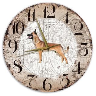 Creatief Art Houten Klok - 30cm - Hond - Mechelse Herder