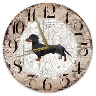 Creatief Art Houten Klok - 30cm - Hond - Kortharige Teckel Zwart