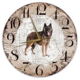 Creatief Art Houten Klok - 30cm - Hond - Tervuurse Herder