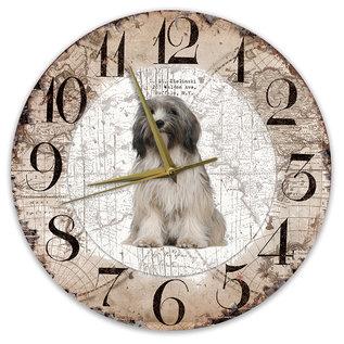 Creatief Art Houten Klok - 30cm - Hond - Tibetaanse Terriër