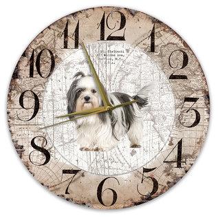 Creatief Art Houten Klok - 30cm - Hond - Shih Tzu