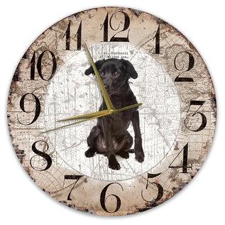 Creatief Art Houten Klok - 30cm - Hond - Markiesje