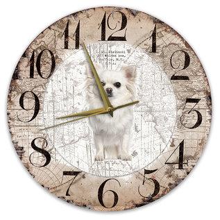 Creatief Art Houten Klok - 30cm - Hond - Chihuahua Langhaar