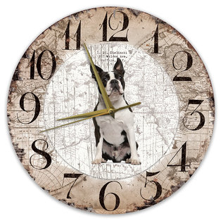 Creatief Art Houten Klok - 30cm - Hond - Boston Terriër