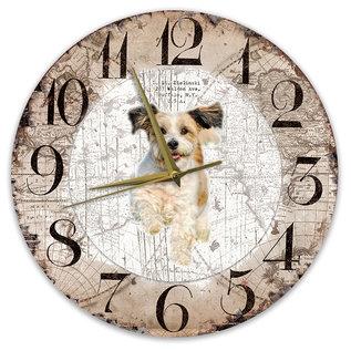 Creatief Art Houten Klok - 30cm - Hond - Bolonka Zwetna