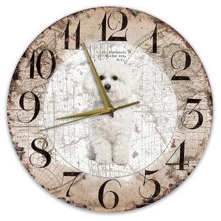 Creatief Art Houten Klok - 30cm - Hond - Bichon Frisé