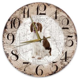 Creatief Art Houten Klok - 30cm - Hond - Welsh Springer Spaniel