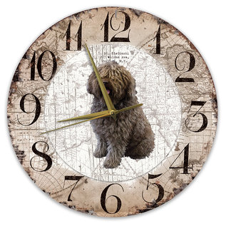 Creatief Art Houten Klok - 30cm - Hond - Spaanse Waterhond