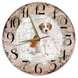 Creatief Art Houten Klok - 30cm - Hond - kooikerhondje