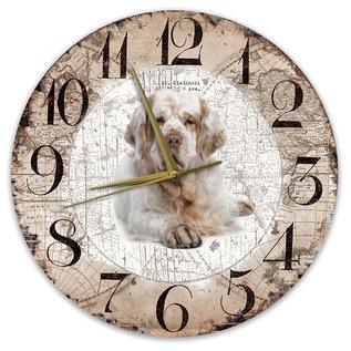 Creatief Art Houten Klok - 30cm - Hond - Clumber Spaniel
