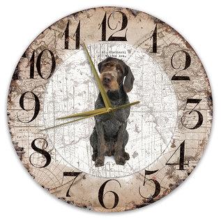 Creatief Art Houten Klok - 30cm - Hond - Duitse Staande Hond Draadhaar