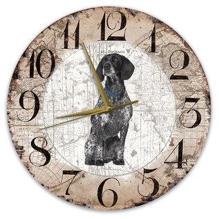 Creatief Art Houten Klok - 30cm - Hond - Braque d Auvergne