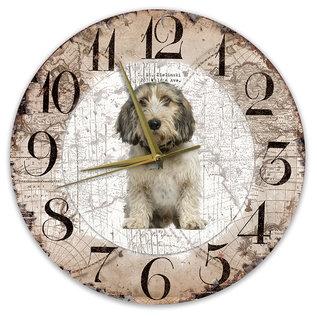 Creatief Art Houten Klok - 30cm - Hond - Petit Basset Griffon Vendéen