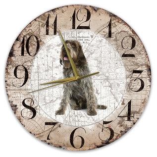 Creatief Art Houten Klok - 30cm - Hond - Korthals Griffon