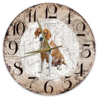 Creatief Art Houten Klok - 30cm - Hond - Foxhound