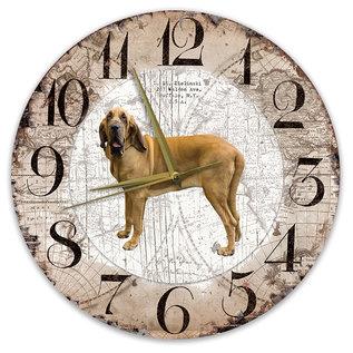 Creatief Art Houten Klok - 30cm - Hond - Bloedhond