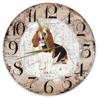 Creatief Art Houten Klok - 30cm - Hond - Basset Artésien Normand