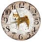 Creatief Art Houten Klok - 30cm - Hond - Shiba