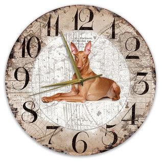 Creatief Art Houten Klok - 30cm - Hond - Pharaohond