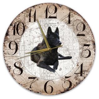 Creatief Art Houten Klok - 30cm - Hond - Noorse Elandhond