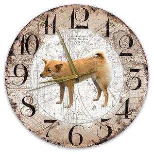 Creatief Art Houten Klok - 30cm - Hond - Finse Spits