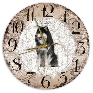 Creatief Art Houten Klok - 30cm - Hond - Finse Lappenhond