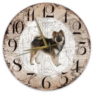 Creatief Art Houten Klok - 30cm - Hond - Eurasiër
