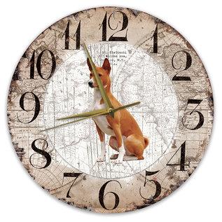 Creatief Art Houten Klok - 30cm - Hond - Basenji