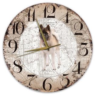 Creatief Art Houten Klok - 30cm - Hond - Amerikan Akita