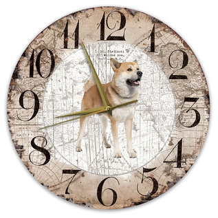 Creatief Art Houten Klok - 30cm - Hond - Akita