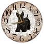 Creatief Art Houten Klok - 30cm - Hond - Schotse Terriër