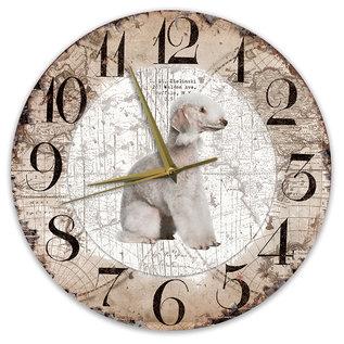Creatief Art Houten Klok - 30cm - Hond - Bedlington Terriër