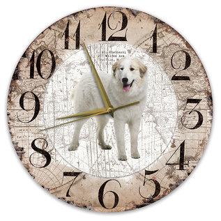Creatief Art Houten Klok - 30cm - Hond - Pyrineese Berghond