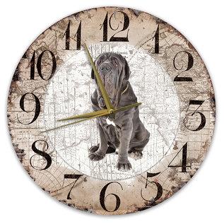 Creatief Art Houten Klok - 30cm - Hond - Mastino Napoletano