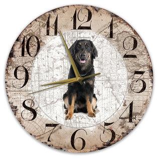 Creatief Art Houten Klok - 30cm - Hond - Hovawart