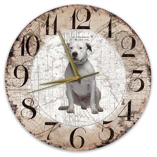 Creatief Art Houten Klok - 30cm - Hond - Dogo Argentino