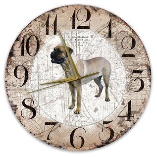 Creatief Art Houten Klok - 30cm - Hond - Bulmastiff
