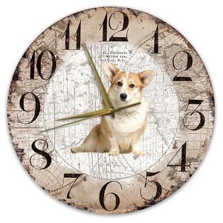 Creatief Art Houten Klok - 30cm - Hond - Welsh Corgi Pembroke