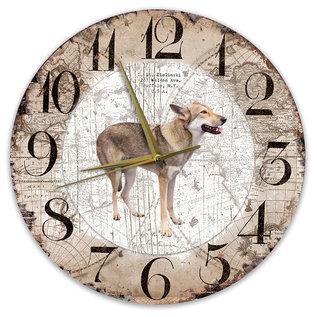 Creatief Art Houten Klok - 30cm - Hond - Saarloos Wolfhond